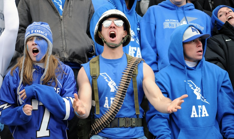 Section 8 fans cheer during the Air Force-Army game at Falcon Stadium Nov. 5, 2011. The Falcons scored 21 points in the third quarter en route to a 24-14 victory over the Black Knights and their second consecutive Commander-in-Chief's Trophy. (U.S. Air Force photo/Tech. Sgt. Raymond Hoy)