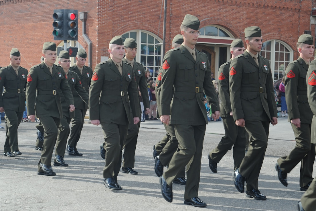 Marines march in the San Angelo Veterans Day Parade