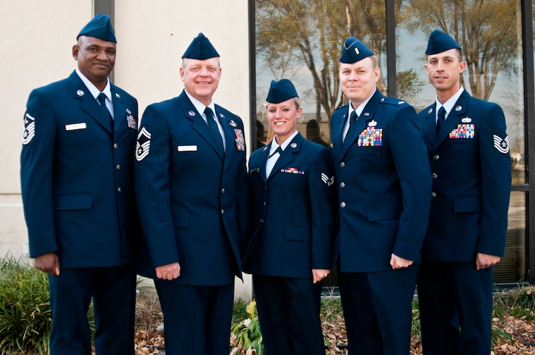 The winners of the Airmen of the Year and Officer of the Year Awards on Nov.  5, 2011: (left) First Sgt. DeJuan Neal, Senior Master Sgt. Robert Shalz, Senior Airman Kalonie Taylor, 2nd Lt. Robert Lovelady, and Tech. Sgt. Fredrick Pierce. These winners will go on to compete with other winners throughout the state. (Photo by Senior Airman Katie Kidd/Missouri Air National Guard)