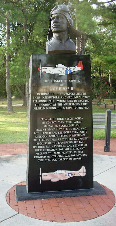 The Tuskegee Airmen monument located at the Walterboro Army Airfield in Walterboro, S.C., honors the pilots, instructors and ground training personnel who participated in combat training conducting at the Airfield.