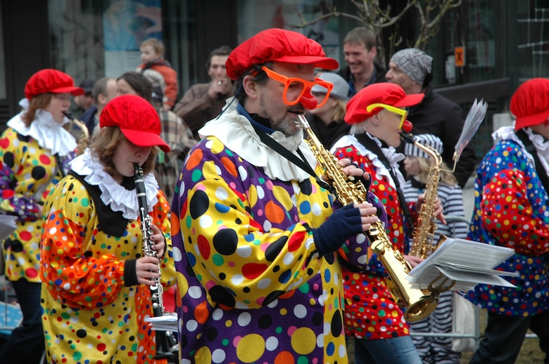 "SPANGDAHLEM AIR BASE, Germany -- German musicians perform in costume during Fastnacht at a local parade in 2010. Fastnacht, or Fasching, is Germany's ""foolish season,"" a celebration similar to Mardi Gras. It officially starts at 11:11 a.m. Nov. 11. Many celebrations happen at this hour throughout the country.  But, the November schedule is limited to speeches, plays and a toast to the prince and princess Fasching. As the New Year comes around, Fasching lasts an entire week. Fasching clubs will host costume balls, dances and ""Kappensitzungen,"" fun sessions, with all events starting off 11 minutes past the 11th hour. To find out information about what's going on in the Eifel area, visit http://www.spangdahlem.af.mil/thesaberherald.asp. (U.S. Air Force photo/Iris Reiff)"