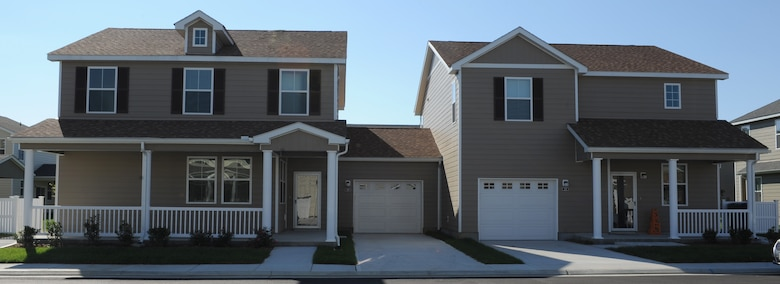 """Nearly 900 new homes, such as the ones seen in this photo dated Oct. 24, 2011, are being built at the Landings at Langley at Bethel Manor and Jamestown Village. The new homes will replace units that did not meet current """"whole house standards."""" (U.S. Air Force photo by Airman 1st Class Teresa Cleveland/Released)"""