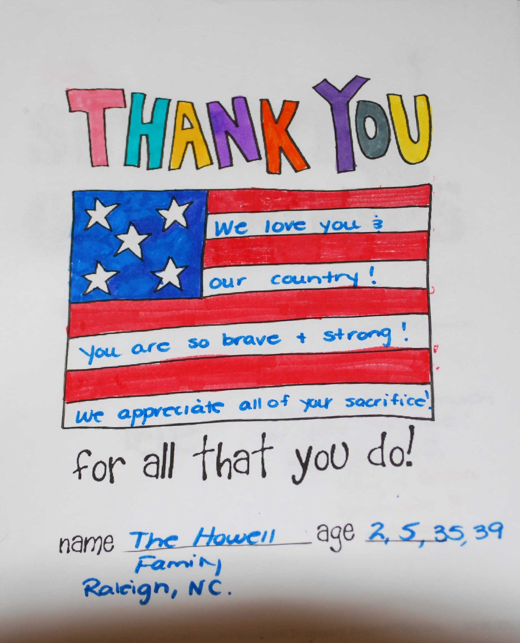 Thank You Veterans Day Cards Printable From Kids
