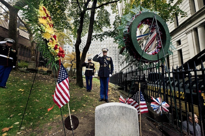 NEW YORK -- Lt. Col. Richard J. Bordonaro, Instructor Inspector, 6th Communications Battalion, Marine Forces Reserve, and Sgt. Maj. George S. Sanchez salutes the grave site of the third Commandant of the United States Marine Corps, Franklin Wharton, Nov. 10. The Marines of 6th Communications Battalion placed a wreath at his headstone overlooking the busy streets of New York. Wharton served from 1798 to 1818. He was the first Commandant to occupy the Commandant's House, Marine Barracks, Washington. He was born in Philadelphia, and now rests at Trinity Church a few blocks away from Wall Street in Manhattan. (Marine Corps production by Sgt. Randall A. Clinton / RELEASED)