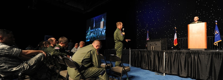 SHREVEPORT, La. -- Lt. Gen. James Kowalski, Air Force Global Strike Command commander, receives a question from the French Strategic Air Forces commander, Lt. Gen. Paul Fouilland, during the second annual Global Strike Challenge Technology and Innovation Symposium Nov. 9. The command's French counterparts have attended both symposiums the command has hosted since its inception, building partnerships and exchanging ideas. (U.S. Air Force photo by Master Sgt. Corey A. Clements)