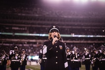 EAST RUTHERFORD, N.J. -- The United States Military Academy's West Point Band performed at halftime during the New York Jets vs New Englad Patriots military appreciation game, Nov. 13. Marines, Sailors, Coast Guardsmen, Airmen and Soldiers unfurled an American Flag across the field during a pre-game ceremony as part of the Jets' celebration of veterans. (Official Marine Corps photo by Sgt. Randall A. Clinton / RELEASED)