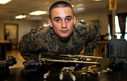Cpl. Paul A. Tafoya, a trumpet player for the U.S. Marine Corps Forces, Pacific Band, still holds the military occupational specialty of an electro-optical ground ordnance repairer and technician. Tafoya received temporary additional duty orders to the band after proving to be a good musician and now travels throughout the Pacific for MarForPac.