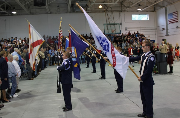 The Junior-ROTC from Walton High School presents the colors at Walton Middle School's Veteran's Day celebration Nov. 10.  (Courtesy photo)