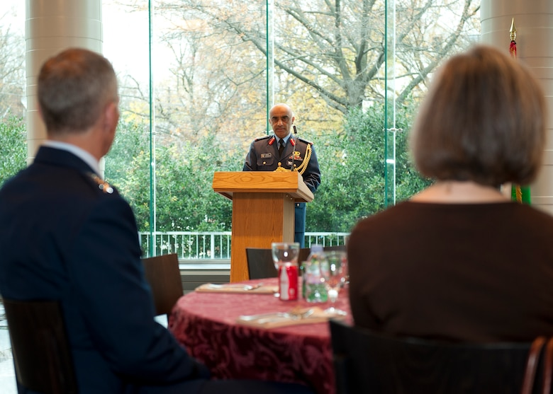 United Arab Emirates (UAE) Air Attaché Col. Abdelrahmn Al-Mazmiby addresses the audience during the Foreign Operations Missions Medal presentation to the commander of Air Combat Command, U.S. Air Force Gen. Mike Hostage III at the UAE Embassy, Washington D.C. on Nov. 15, 2011. (U.S. Air Force photo by Jim Varhegyi/Released)