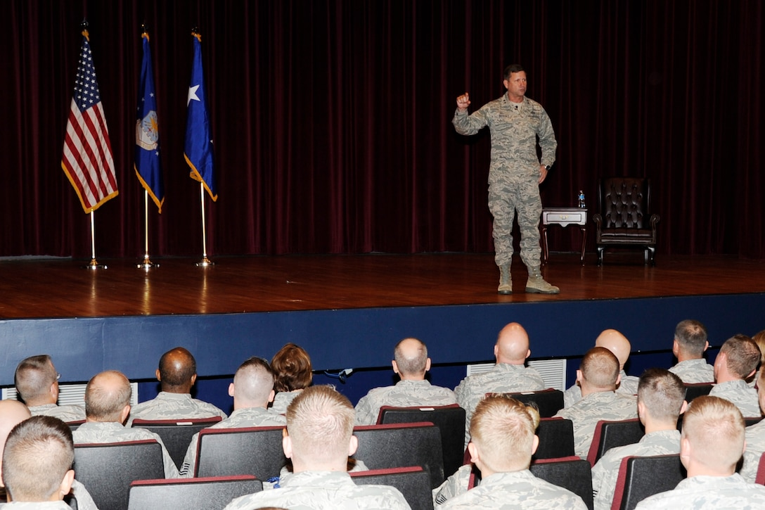 Maj. Gen. Leonard Patrick speaks to Sheppard members during an All Call at the base theater Nov. 16, at Sheppard Air Force Base, Texas. After his speech, Patrick answered general questions about training and the Air Force at large. (U. S. Air Force photo/Frank Carter)