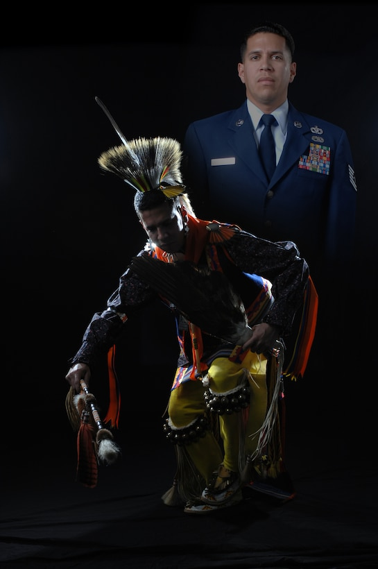 Tech. Sgt. Thundercloud Hirajeta, heating, ventilation and air conditioning mechanic assigned to special duty, dances in his traditional regalia used in powwows and dance competitions. Hirajeta is a champion Straight Dancer winning several powwow contests throughout Oklahoma. (U.S. Air Force graphic by Robert Scott)