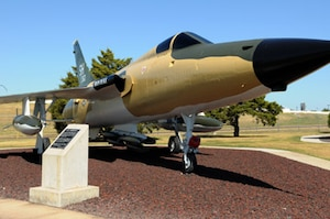 """The F-105 Thunderchief was one of the most versatile tactical jet fighters in the Air Force inventory from 1959 through the Vietnam Era. Tinker's representative F-105, a D-model named """"Iron Duke"""" (serial number 62-4360), represents the accomplishments and contributions of Tinker Air Force Base employees, but has a story of its own to tell.  The F-105, affectionately known as the """"Thud,"""" represented the future of fighter-bomber aircraft in 1958 when it entered operational service.  The F-105 could deliver 12,000 pounds of bombs, either conventional or nuclear, at supersonic speeds.    This would be comparative to giving a World War II-era B-17 the capability to leave London at noon, drop bombs on Berlin at 1:00 p.m., and be home by 2 p.m., as well as be able to defend itself the entire flight. Within 15 years, fighter-bombers had come that far. The Thunderchief was a milestone, more maneuverable than a B-52 and capable of flying close overhead to support advancing ground forces."""