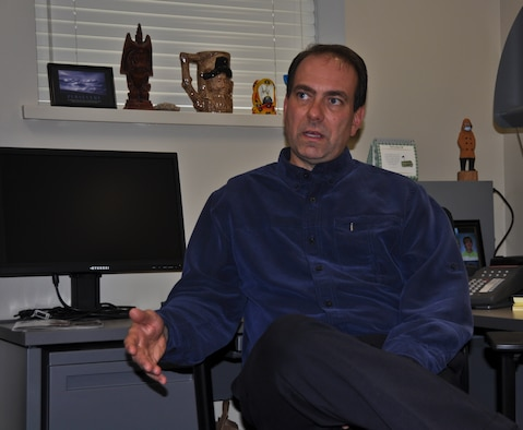 Robb Simcock, the director for psychological health at the 128th Air Refueling Wing, discusses the aspects and goals of his position with the Wing on Saturday, November 19, 2011.  Simcock is a licensed psychological health practitioner with a focus in cognitive behavior, and he joined the Wing in July of this year as part of a Guard Bureau mandate that places a psychological health professional on every Guard installation.  Air National Guard photo by Staff Sgt. Jeremy Wilson