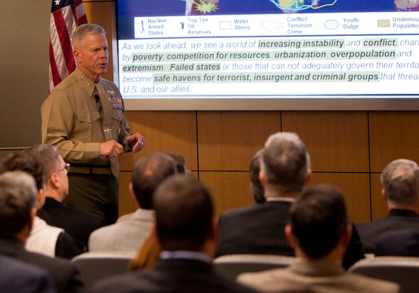 Commandant of the Marine Corps Gen. James F. Amos explains the importance of the Marine Corps and the Corps future with the United States to a group of people at Arlington Va., Nov 18. He spoke of moving troops from Afghanistan to the Pacific.