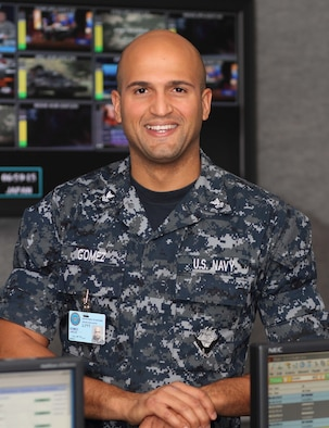 Navy Petty Officer 2nd Class Carlos Gomez is a television control operator at Defense Media Activity-Riverside, located adjacent to March Air Reserve Base, Calif. (Courtesy photo)