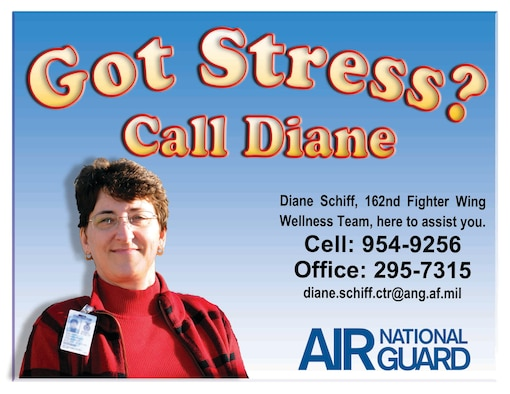 """Diane Schiff, director of psychological health, is the Arizona Air National Guard's link to an array of wellness services. Schiff wants all Guardsmen and their families to know that she's available to help in times of """"holiday stress"""" as well as any other time of year. (U.S. Air Force graphic)"""