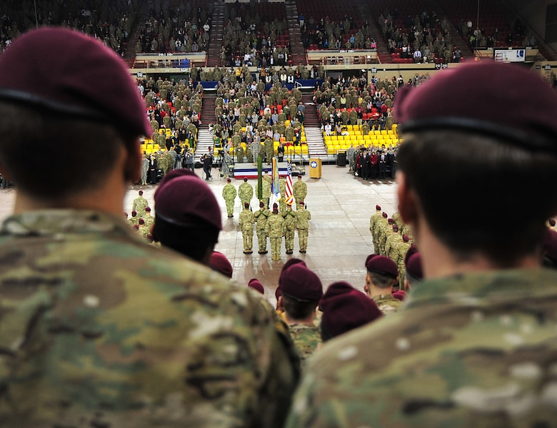 "Soldiers from 4th Brigade Combat Team (Airborne), 25th Infantry Division participate on their deployment ceremony at Sullivan Arena, Anchorage, Alaska, Nov. 29, 2011. The 4-25 ABCT ""Spartan Brigade"" will deploy 3,500 Soldiers on a series of flights in November and December en route to Afghanistan.  (U.S. Air Force photo/Staff Sgt. Sheila deVera)"
