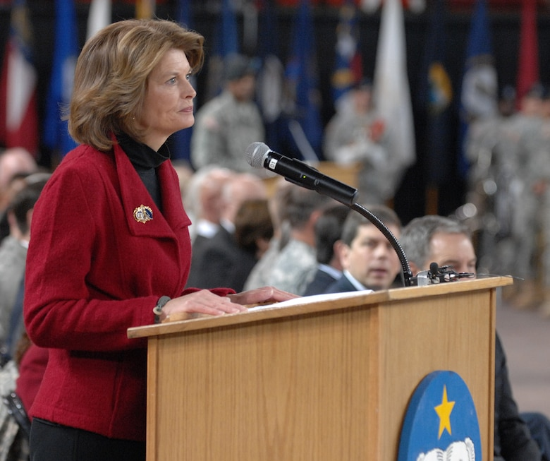 "Senator Lisa Murkowski speaks to Soldiers of the 4th Brigade Combat Team (Airborne), 25th Infantry Division during a deployment ceremony at Sullivan Arena, Anchorage, Alaska Nov. 29, 2011.  The 4-25th ABCT, ""Spartan Brigade,"" will deploy 3,500 Soldiers on a series of flights in November and December en route to Afghanistan. (U.S. Air Force photo/Staff Sgt. Zachary Wolf)"