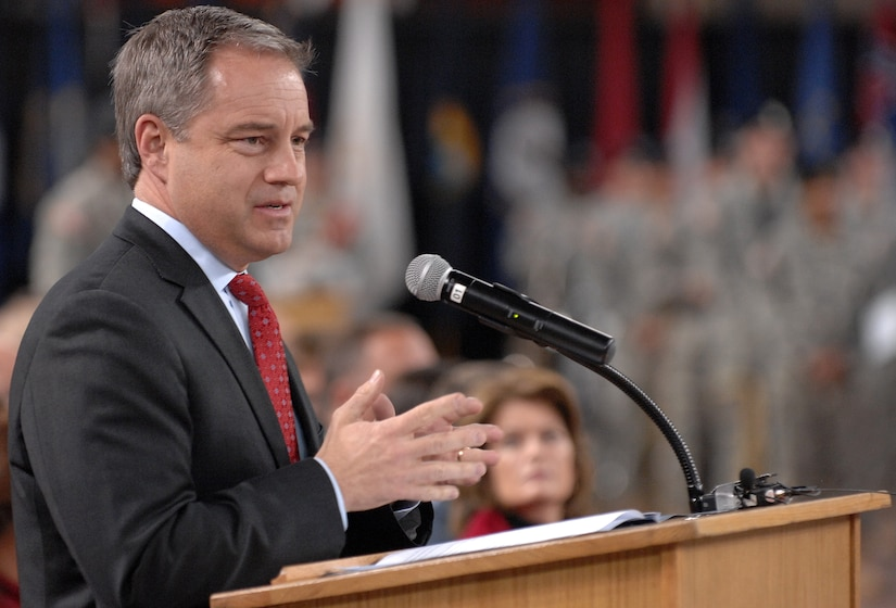 """Alaska Governor Sean R. Parnell speaks to Soldiers of the 4th Brigade Combat Team (Airborne), 25th Infantry Division during a deployment ceremony at Sullivan Arena, Anchorage, Alaska, Nov. 29, 2011.  The 4-25th ABCT, """"Spartan Brigade,"""" will deploy 3,500 Soldiers on a series of flights in November and December en route to Afghanistan. (U.S. Air Force photo/Staff Sgt. Zachary Wolf)"""