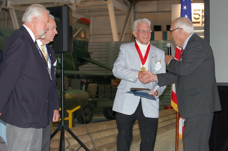 Retired Colorado Air National Guard Col. Don Neery is inducted into the Colorado Aviation Hall of Fame Oct. 2, 2011, at Wings Over the Rockies Air & Space Museum in Denver. (Photo by Dave Kelpa/Used with permission)