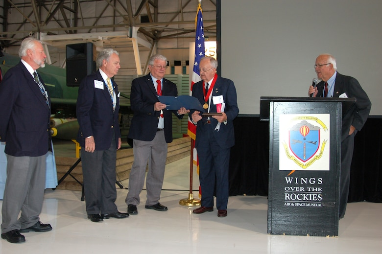 Retired Colorado Air National Guard Col. Michael W. Bertz is inducted into the Colorado Aviation Hall of Fame Oct. 2, 2011, at Wings Over the Rockies Air & Space Museum in Denver. (Photo by Dave Kelpa/Used with permission)