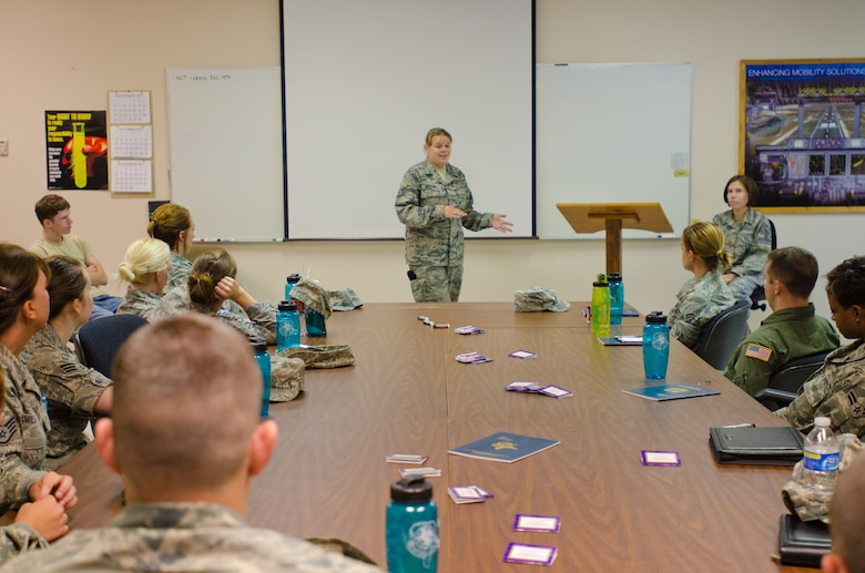Tech. Sgt. Tia Master addresses the Junior Enlisted Council for the 139th Airlift, Saturday October 1, 2011.  The Junior Enlisted Council assits the needs of all enlisted on the base.  (U.S. Air Force photo by Airman First Class Kelsey Stuart)