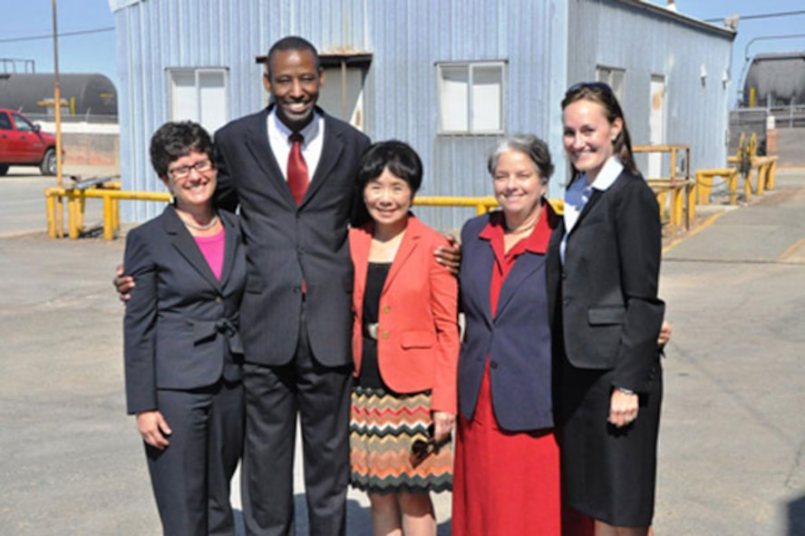 Speakers gather after the McClellan event to celebrate privatized cleanup success at the former base. (l to r) Debbie Raphael, Director, Calif. Department of Toxic Substance Control Board; Timothy Bridges, Deputy Assistant Secretary of the Air Force for Environment, Safety and Occupational Health; Congresswoman Doris Matsui, Calif. 5th District; Jane Diamond, Superfund Director, US EPA Region 9; Katherine Hart, Board Chair of the Regional Water Quality Control Board.     (Photo by Scott Johnston, AFRPA)