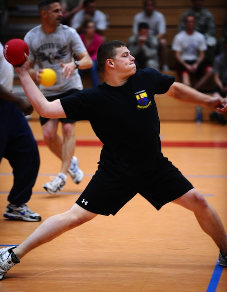SPANGDAHLEM AIR BASE, Germany -- Mark Doke throws a dodgeball during the Combined Federal Campaign dodgeball tournament kick off here Oct. 4. Twenty-one teams participated in the tournament and raised $586 for the CFC, an annual campaign that enables federal employees to make donations to a number of federally-approved charitable organizations. (U.S. Air Force photo/Staff Sgt. Nathanael Callon)