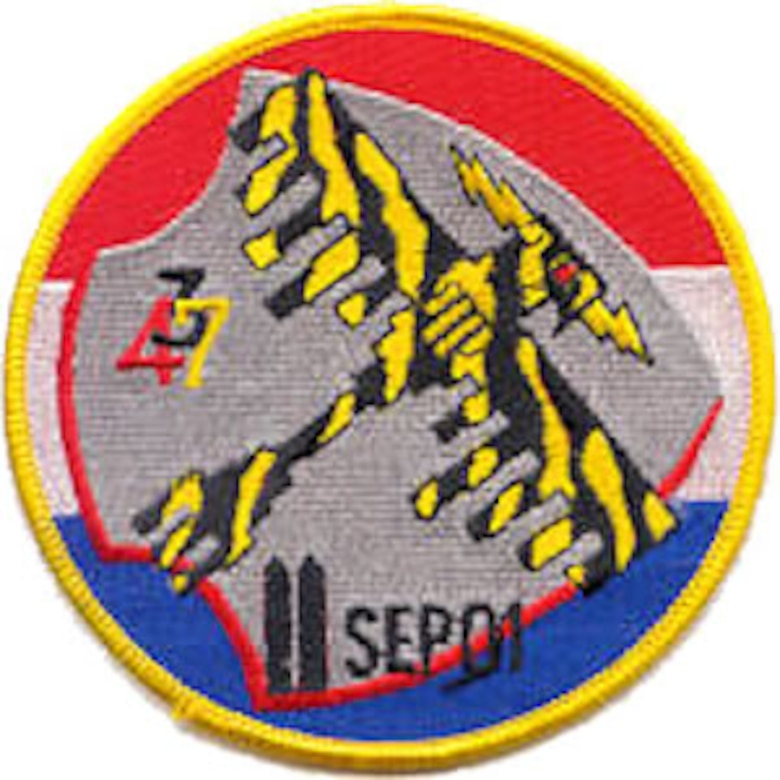 The 2001 deployment patch worn by Airmen of the 34th Expeditionary Bomb Squadron.  This patch merges elements of both the 34th and 37th Bomb Squadrons.