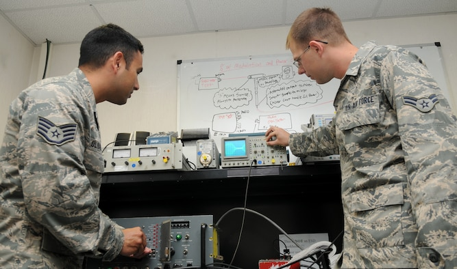 SPANGDAHLEM AIR BASE, Germany – Staff Sgt. Reynaldo Ulibarri and Airman 1st Class Douglas Young, 52nd Communication Squadron radio frequency transmission system technicians, conduct a preventative maintenance inspection on a ground-to-air radio here Oct. 4. The radio frequency transmissions shop maintain radios for base weather, command post, base operations and the flying squadrons. The work of the 52nd CS allows different units to communicate effectively to achieve the Saber mission. (U.S. Air Force photo/Senior Airman Christopher Toon)