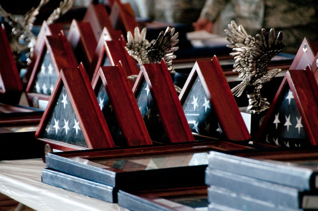 Hometown Hero awards sit on hand to be presented to 162nd Fighter Wing members who deployed in support overseas contingencies between 2008 and 2010. (U.S. Air Force photo/Master Sgt. Dave Neve)