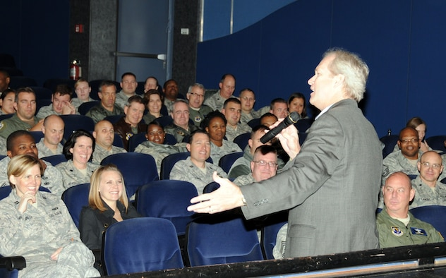 "RAMSTEIN AIR BASE, Germany -- Inspirational speaker and best-selling author Dan Clark addresses a gathering of 17th Air Force (Air Forces Africa) Airmen during their Wingman Day Oct. 7, 2011, at the Hercules Theater here. Clark, the former NFL player and author of ""Chicken Soup for the Soul"" series, is visiting 17th as they prepare to consolidate with Headquarters U.S. Air Forces in Europe and 3rd Air Force in the coming months. (US Air Force photo by Master Sgt. Jim Fisher)"
