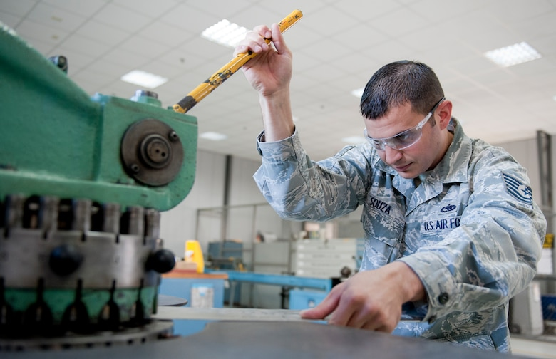 Tech. Sgt. Nicholas Souza, 39th Maintenance Squadron metals maintenance section chief, slides a sheet of metal into a rotex punch creating holes through the sheet Oct. 4, 2011, at Incirlik Air Base, Turkey. The maintenance squadron is responsible for welding and sheet metal fixes, directing aircraft to where it will be parked, crash response capabilities, providing lighting and generators, and many other duties. The 39th MSX works as a back shop for the 728th Air Mobility Squadron's maintainers.(U.S. Air Force photo by Senior Airman Anthony Sanchelli/Released)