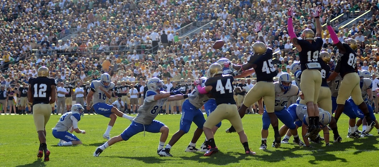 Air Force Parker Herrington kicks his first field goal of the day against the Notre Dame Fighting Irish Saturday, Oct. 8, 2011 at Notre Dame Stadium. Herrington had two field goals on the day as the Irish rolled on the Falcons 59-33. The victory lifts the Irish to a 4-2 record while the Falcons drop to 3-2. (U.S. Air Force photo/Tech. Sgt. Raymond Hoy)