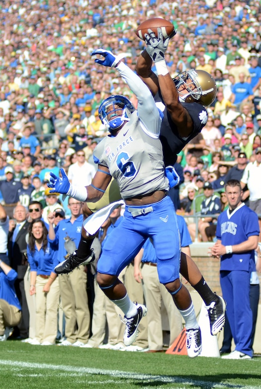 Notre Dame wide receiver Michael Floyd out jumps Air Force defensive back Jon Davis for the first Irish touchdown of the game Saturday, Oct. 8, 2011 at Notre Dame Stadium. The controversial touchdown call was Floyd's only TD as the Irish rolled on the Falcons 59-33. The victory lifts the Irish to a 4-2 record while the Falcons drop to 3-2. (U.S. Air Force photo/Tech. Sgt. Raymond Hoy)