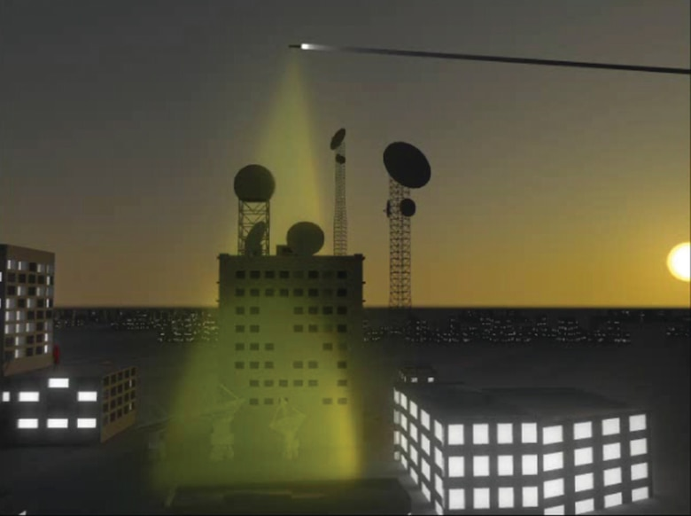 A representation of a CHAMP beacon on target facility. (NET Solutions Image)