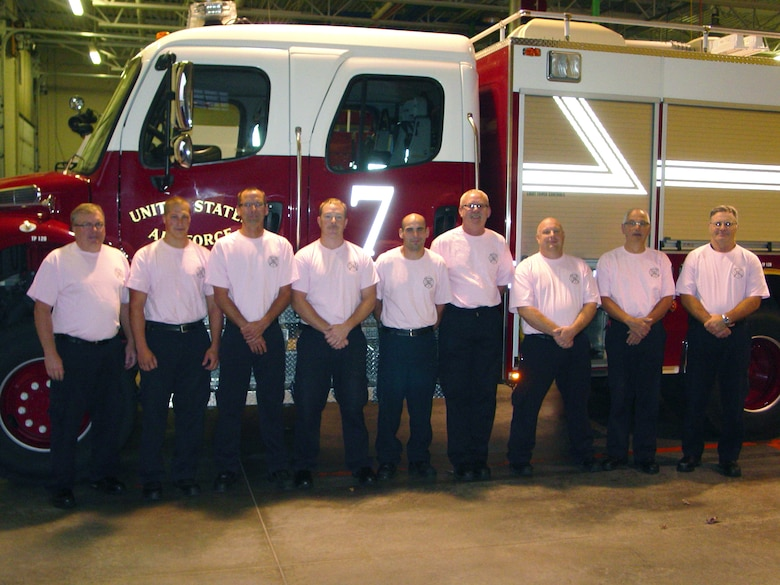 SIOUX FALLS, S.D. - Members of the A shift of the Crash, Fire, Rescue station at Joe Foss Field have their photo taken in their pink shirts they purchased and wore in honor of Breast Cancer Awareness month here October 11, 2011.  Firefighters at the station raised funds to support the foundation during the month of October which is also Fire Prevention month. (National Guard photo by Charles Kludt, CIV)(RELEASED)