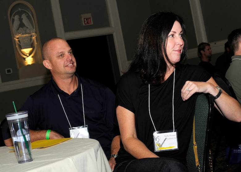 Oregon Air National Guard Master Sgt. Trent Hansen of the 142nd Fighter Wing, and his wife Kelly attend a break-out training session at the Governor Hotel, Portland, Ore., during a Yellow Ribbon Event on Sept. 24, 2011 (U.S. Air Force photograph by Tech. Sgt. John Hughel)