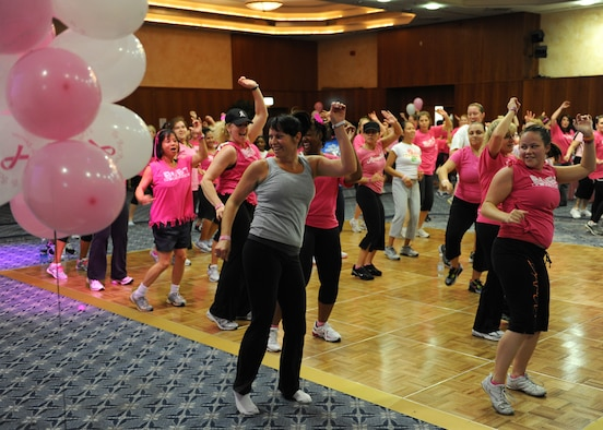 SPANGDAHLEM AIR BASE, Germany – More than 130 participants dance during the Zumba for a Cure event in support of Breast Cancer Awareness Month here Oct. 13. Zumba for a Cure raised more than $2,000 toward the Susan G. Komen Foundation for Breast Cancer Research. (U.S. Air Force photo/Senior Airman Christopher Toon)