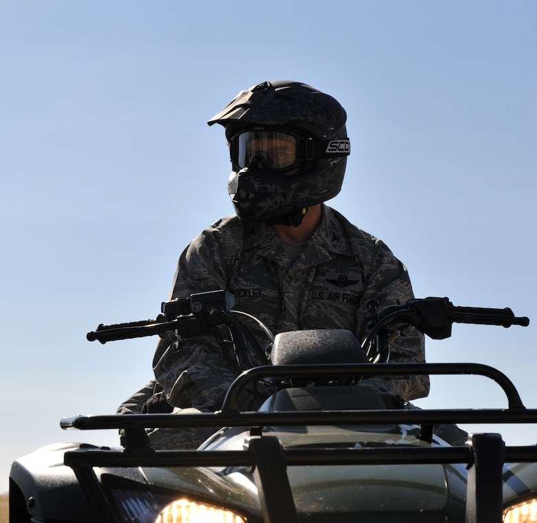 Col. Ron Buckley, 366th Fighter Wing commander, sits on an ATV while receiving training Oct. 14, 2011, at Mountain Home Air Force Base, Idaho. The ATVs are used to reach parts of the base that are otherwise inaccessible. (U.S. Air Force photo by Airman 1st Class Heather Hayward)