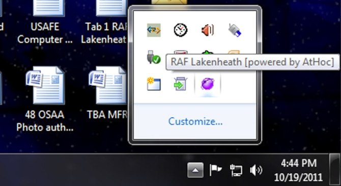 "The AtHoc network warning system is another way for base personnel to receive information.  AtHoc is the purple icon in the lower right-hand corner of your desktop computer.  When Liberty Warriors enter their personal ""My Info"" and ""Devices"" contact information, they will be capable of receiving phone calls and emails to their personal accounts in addition to desktop alert messages."