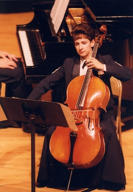 MSgt Vivian Podgainy of the Air Force Strings performs on cello