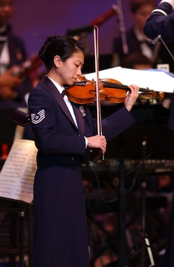 MSgt Mari Washington of the USAF Strings performs on violin