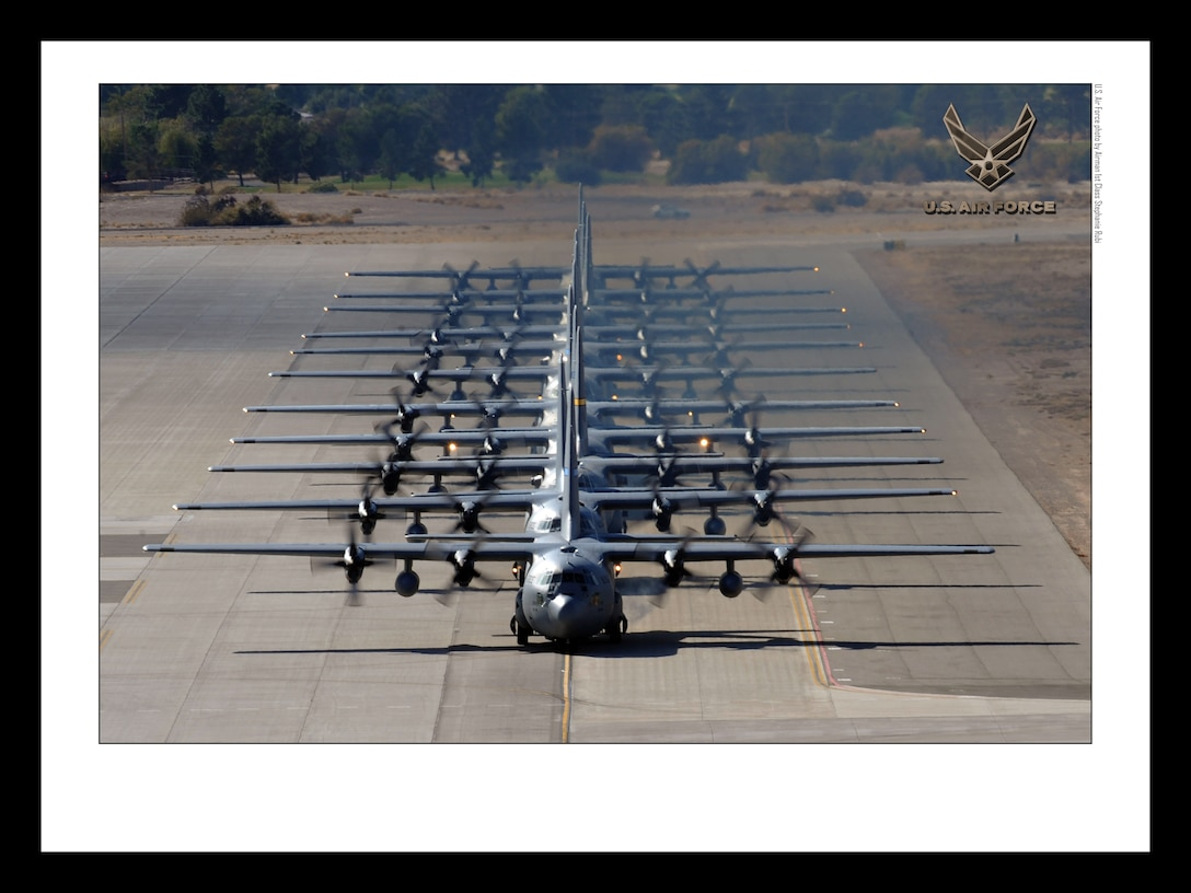 C-130 Hercules on the Nellis AFB, Nev. flightline18x24 inches @ 300 PPI (U.S. Air Force photo/layout by Senior Airman Stephanie Rubi/Released)