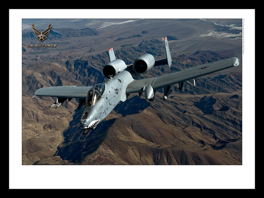 A-10 Thunderbolt II over the NTTR 18x24 inches @ 300 PPI (U.S. Air Force photo/layout by Airman 1st Class Daniel Hughes/Released)