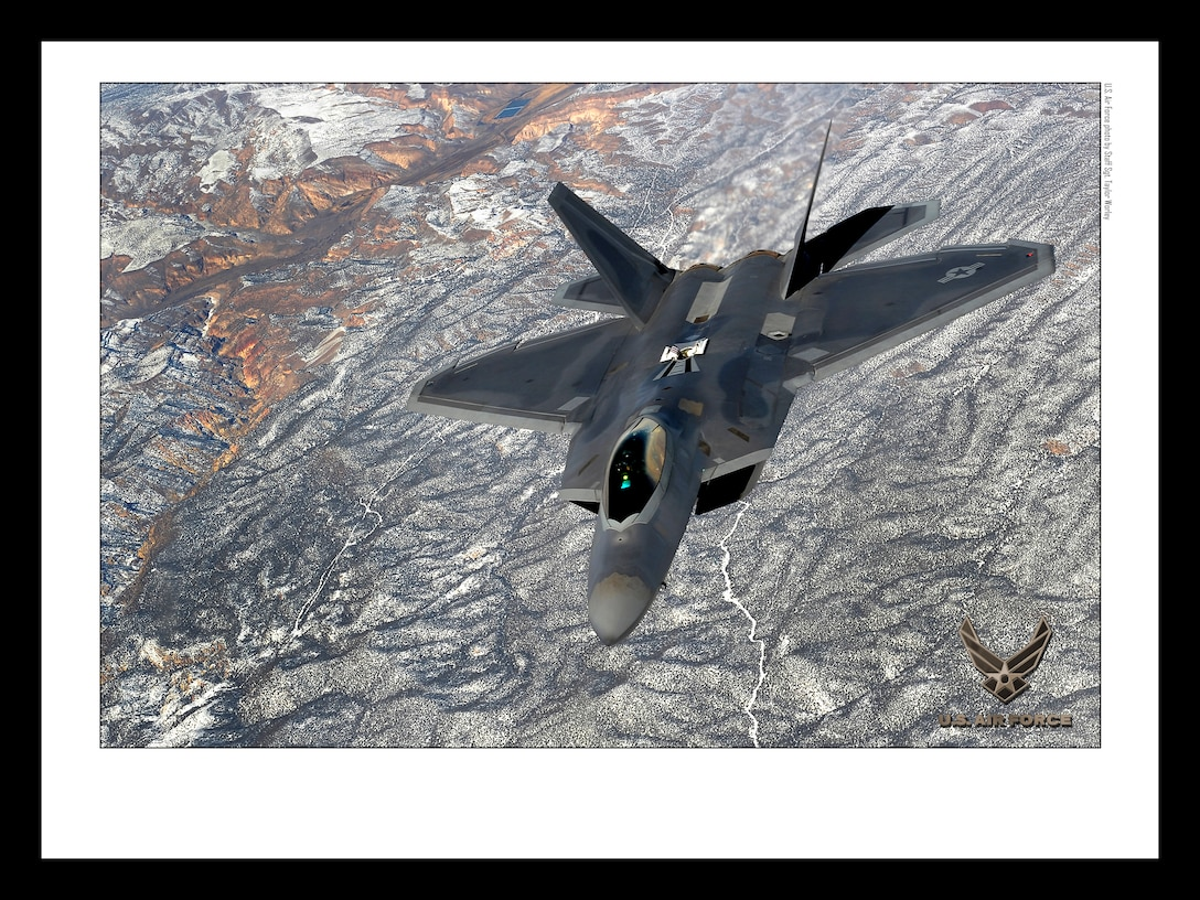 F-22 Raptor over the NTTR 18x24 inches @ 300 PPI (U.S. Air Force photo/layout by Staff Sgt. Taylor Worley/Released)