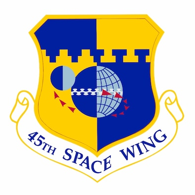45th Space Wing Emblem (Color). Image provided by 45th Space Wing Public Affairs. In accordance with Chapter 3 of AFI 84-105, commercial reproduction of this emblem is NOT permitted without the permission of the proponent organizational/unit commander.