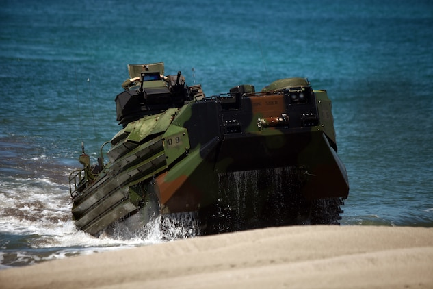 An Amphibious Assault Vehicle with Company G, Battalion Landing Team 2nd Battalion, 7th Marines, 31st Marine Expeditionary Unit, makes its way ashore during a mock mechanized amphibious assault, Oct. 23. The assault was a bilateral exercise, and is conducted annually by the Republic of the Philippines and United States. The 31st MEU is operating in support of the 3rd Marine Expeditionary Brigade for the exercise, is the only continuously forward-deployed MEU and remains the United States' force in readiness in the Asia-Pacific region.