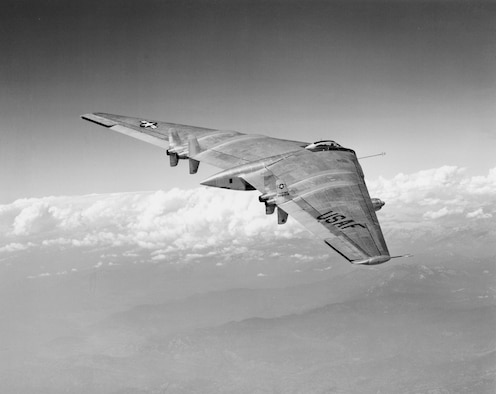 The YB-49 Flying Wing bomber prototype in flight.  Northrop test pilot Max Stanley completed the first flight of an all-jet powered version  of the YB-49 on October 21, 1947. (U.S. Air Force Photo courtesy AFFTC History Office)
