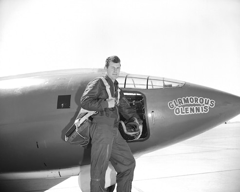 "Air Force Captain Charles E. ""Chuck"" Yeager and the rocket-powered Bell X 1, which he dubbed the ""Glamorous Glennis."" On October 14, 1947, Captain Yeager piloted the X-1 to Mach 1.06 (approximately 700 mph at 42,000 feet), becoming the first man to break the so-called ""sound barrier.""  (U.S. Air Force Photo courtesy AFFTC History Office)"